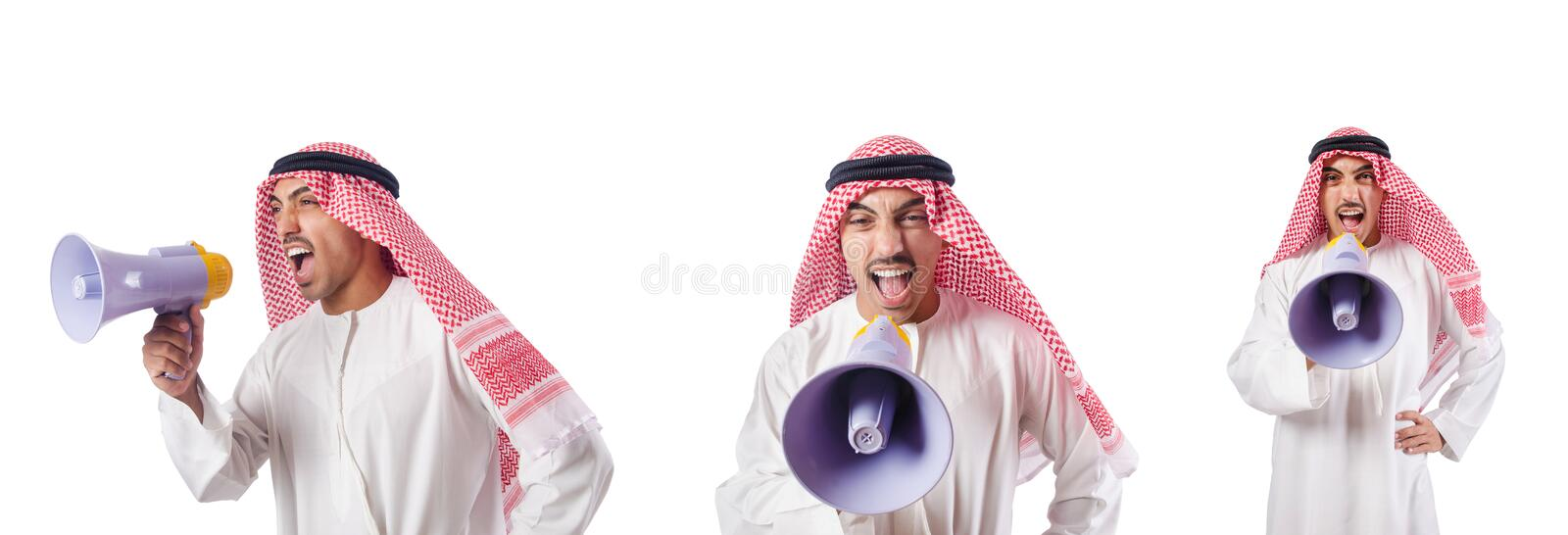 The arab businessman with bullhorn isolated on white. Arab businessman with bullhorn isolated on white royalty free stock images