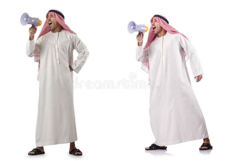 The arab businessman with bullhorn isolated on white. Arab businessman with bullhorn isolated on white stock image