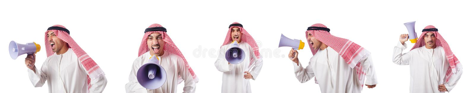 The arab businessman with bullhorn isolated on white. Arab businessman with bullhorn isolated on white stock photo