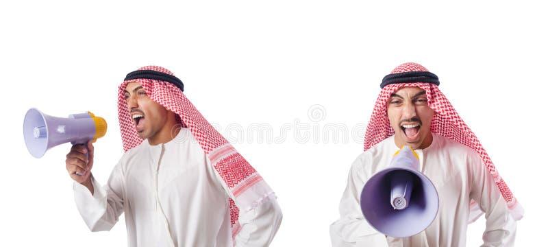 The arab businessman with bullhorn isolated on white. Arab businessman with bullhorn isolated on white stock photos