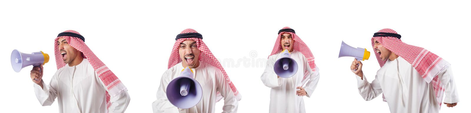The arab businessman with bullhorn isolated on white. Arab businessman with bullhorn isolated on white royalty free stock image