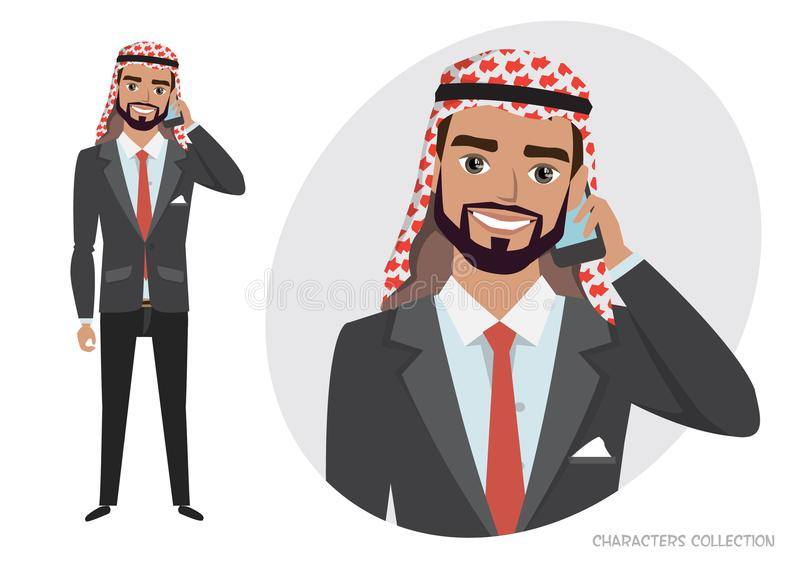 Arab businessman character is talking on the phone. Arab Man character is talking on the phone. Vector character in cartoon style stock illustration