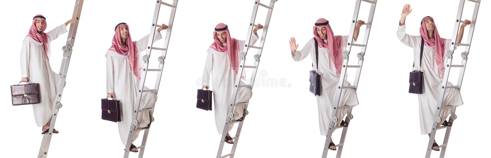 The arab businessman climbing the stairs on white. Arab businessman climbing the stairs on white stock images