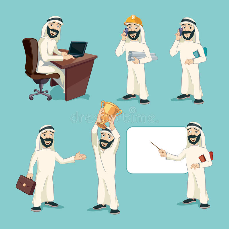 Arab businessman in different actions. Vector stock illustration