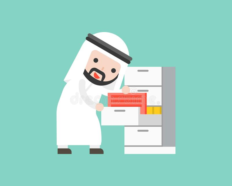 Arab businessman finding document files in drawer, ready to use. Character office situation flat design stock illustration