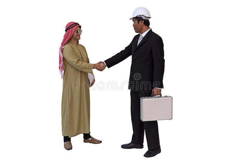 Arab businessman and foreman worker handshaking. isolated background with clipping path royalty free stock images