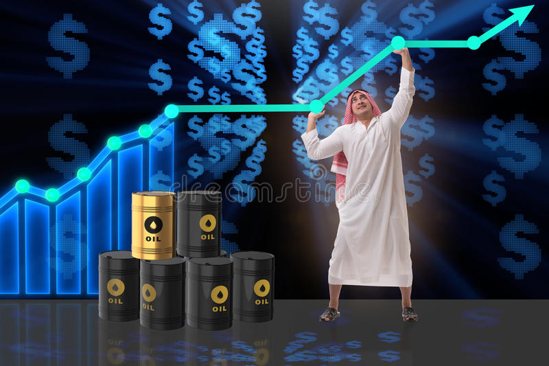 The arab businessman in oil price business concept. Arab businessman in oil price business concept royalty free stock image