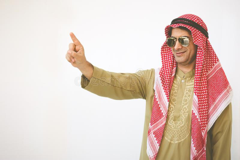 Arab businessman outstretched hand for implementation. Concept b royalty free stock photos