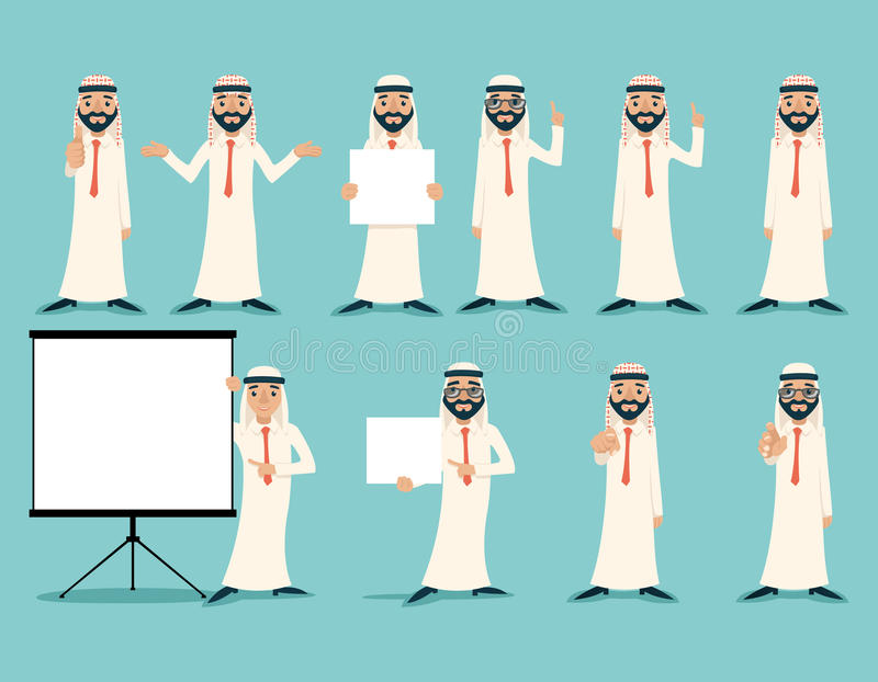 Arab Businessman Retro Vintage Successful Working Poses Gesture Sign Poster Set Traditional National Muslim Clothes. Cartoon Characters Icon Stylish Background royalty free illustration