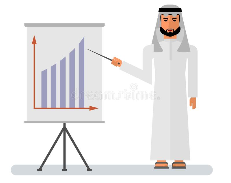 Arab_businessman_stand_at_white_board vektor abbildung