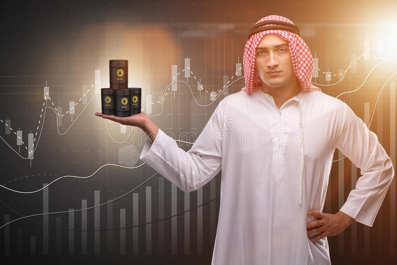 The arab businessman supporting oil price stock image