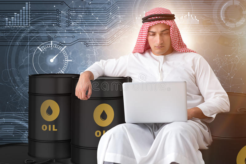 The arab businessman trading crude oil on laptop. Arab businessman trading crude oil on laptop royalty free illustration