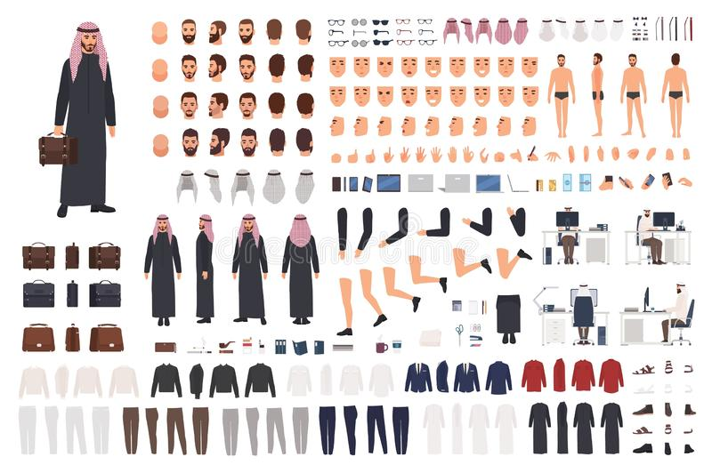 Arab businessman in traditional formal clothes DIY set or avatar kit. Bundle of body parts, postures, hairstyles royalty free illustration