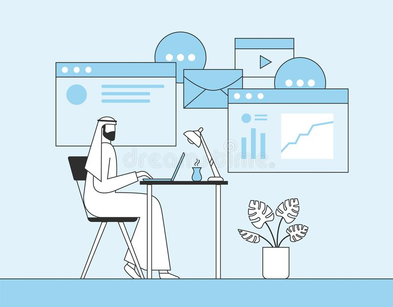 Arab businessman working with laptop in office. Web page, banner, social media background. Flat vector illustration stock illustration
