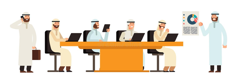 Arab businessmans group at table in bisiness meeting. Arabic saudi men cartoon vector characters royalty free illustration