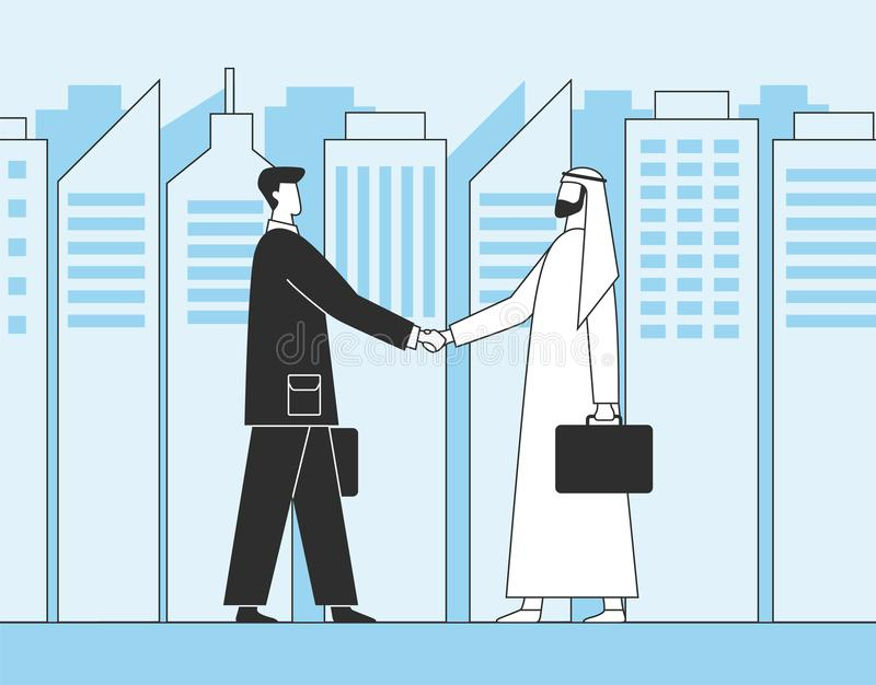 Arab businessmen, business handshake. Muslim investors on the background of city skyscrapers. Flat  illustration stock illustration