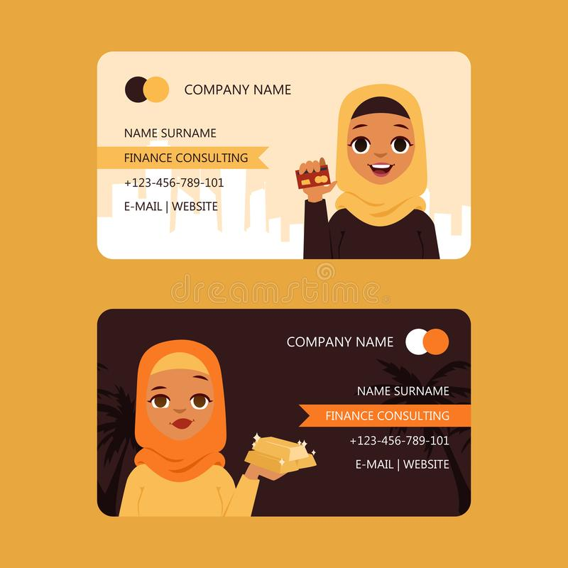 Arab businesswoman finance consulting set of business cards vector illustration. Girls in traditional clothing holding vector illustration