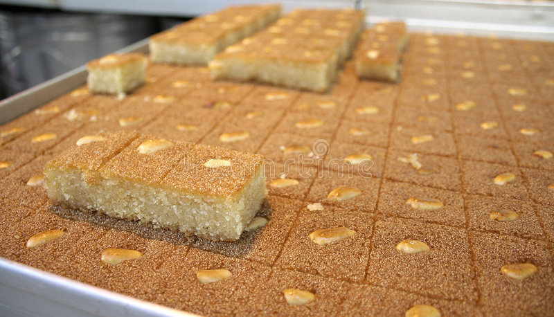 Arab cake on display. Close up of arab cake on display in market royalty free stock image