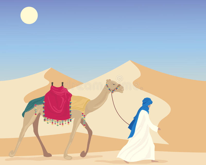 Arab with camel royalty free illustration