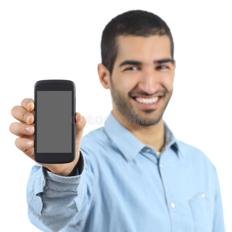 Arab casual man showing a mobile phone application stock images