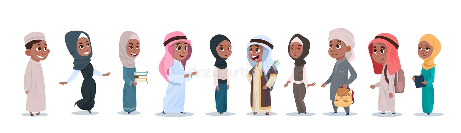 Arab Children Girls And Boys Group Small Cartoon Pupils Collection Muslim Students vector illustration