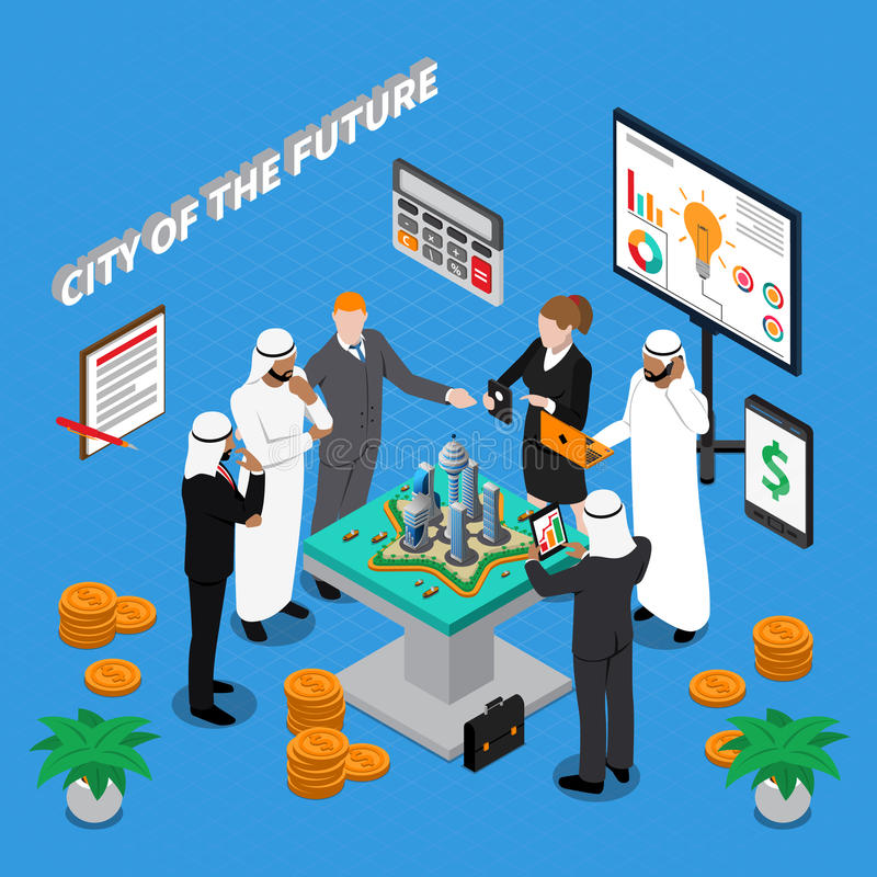 Arab City Of Future Isometric Composition stock illustration