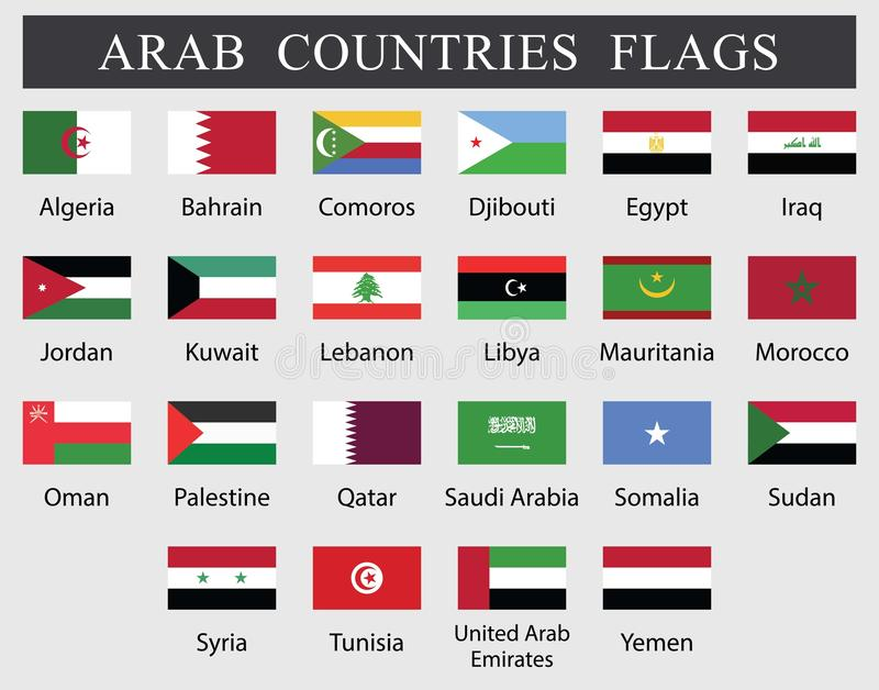 Arab Countries Flags. Collection. twenty tow Arabian countries flags drawing by illustration vector illustration