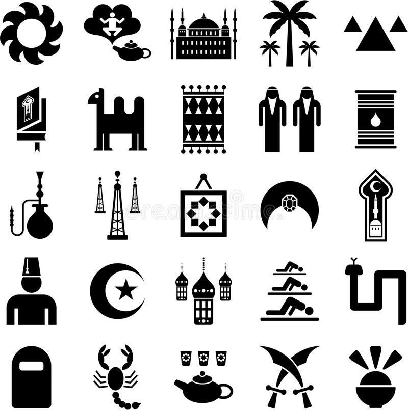 Arab countries icons. Some icons related with arab countries stock illustration