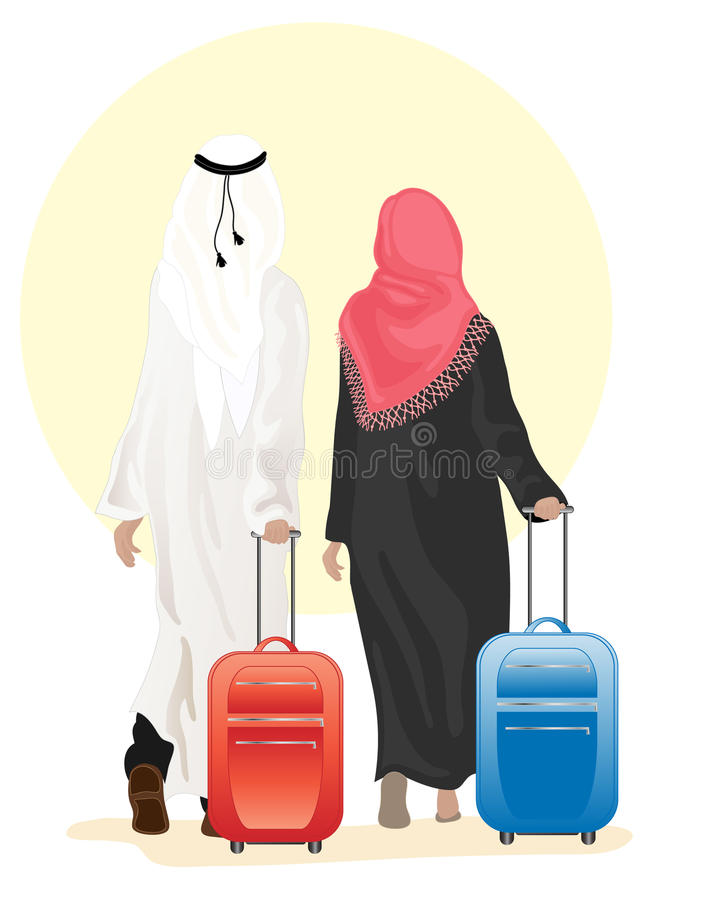 Arab couple with suitcase royalty free illustration