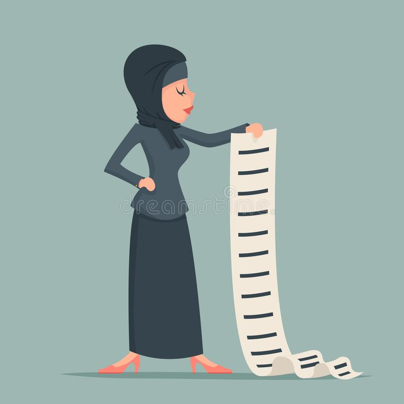 Arab cute businesswoman tradidcional clothing hijab abaya jacket long list work deed offer sign document character icon. Arab cute businesswoman tradidcional royalty free illustration