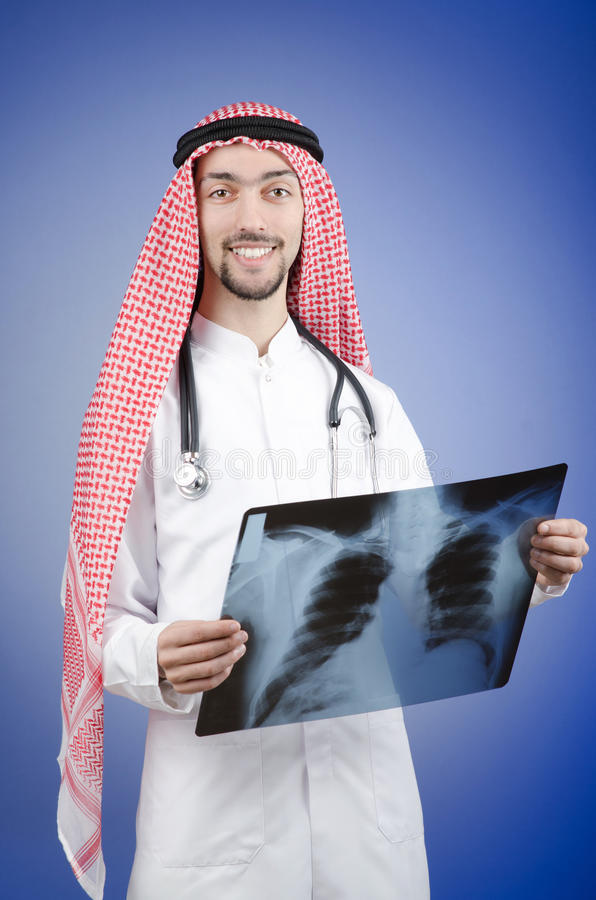 Arab Doctor With X-ray Stock Image