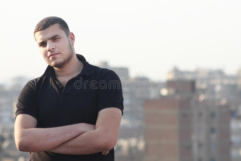 Arab egyptian young businessman thinking stock images