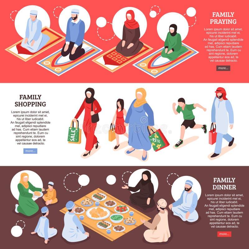 Arab Family Banners Set vector illustration