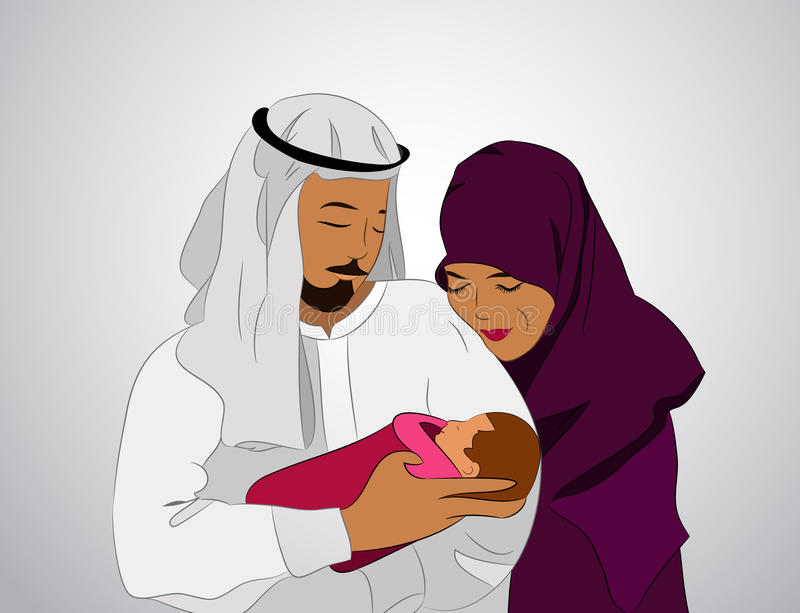 Arab family with a child stock illustration