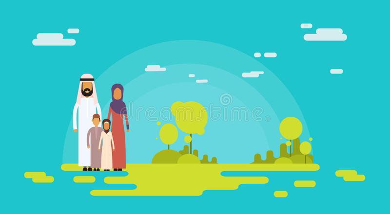 Arab Family Four People, Arabic Parents Two Children Nature Background vector illustration
