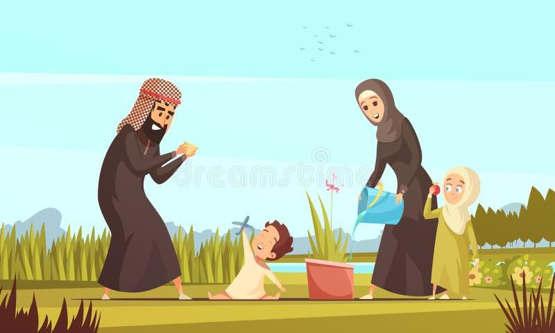 Arab Family Life Cartoon Poster royalty free illustration