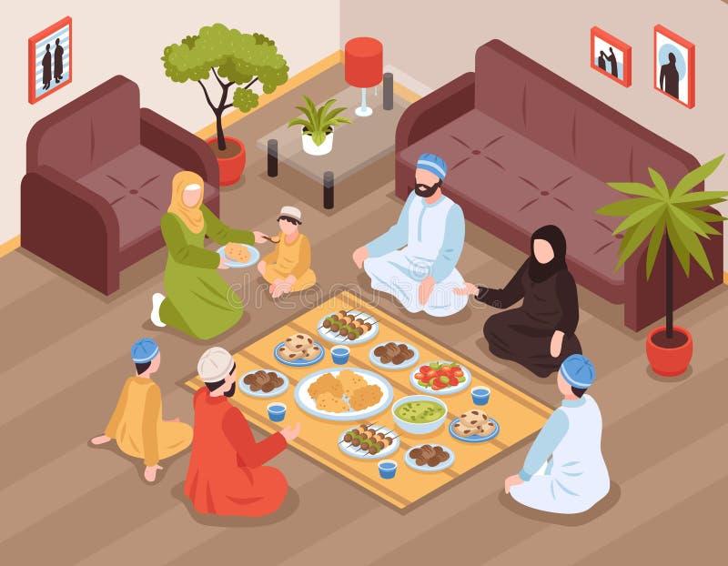 Arab Family Meal Illustration stock illustration