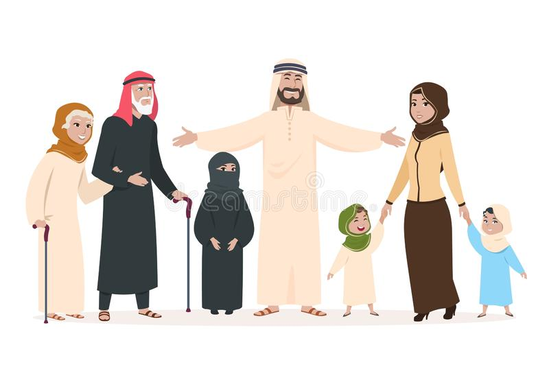 Arab family. Muslim mother and father, happy kids and elderly persons. Saudi islam cartoon vector characters vector illustration