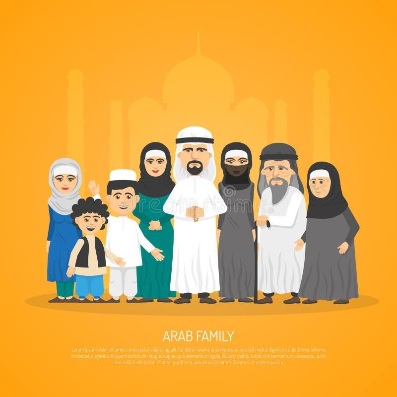 Arab Family Poster stock illustration