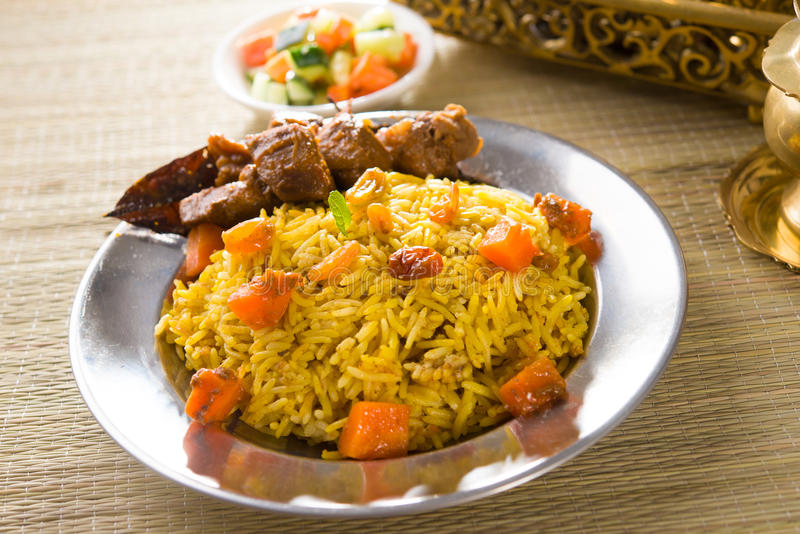 arab food, ramadan foods in middle east usually served with tandoor lamb royalty free stock images