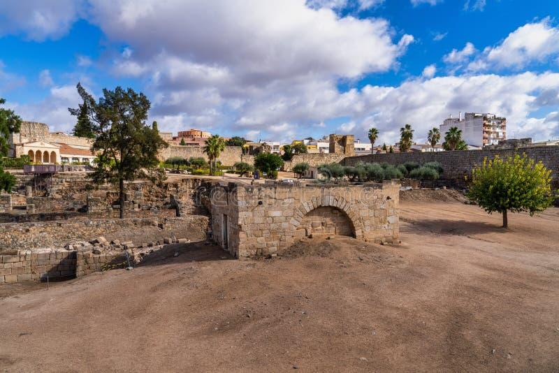 Arab Fortress Alcazaba near Guadiana river in Merida, Spain royalty free stock image