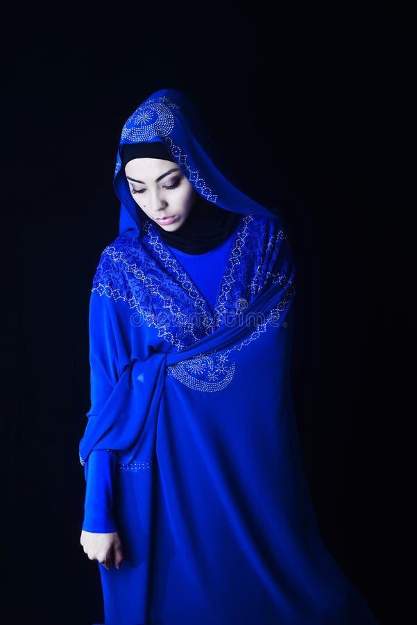 Arab Girl Blue Hijab Black Background Stock Photo Image Of