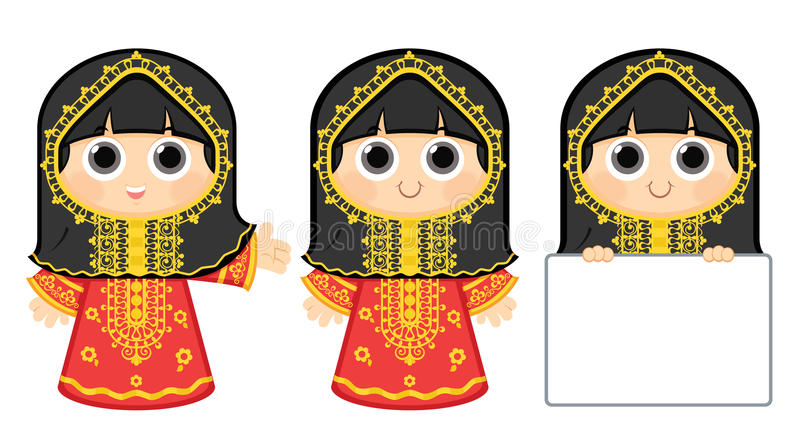 Arab Girl. Little Girl Wearing Traditional Dress , this dress may be used in traditional occasions in the following countries :Bahrain, Kuwait, Qatar, Saudi royalty free illustration