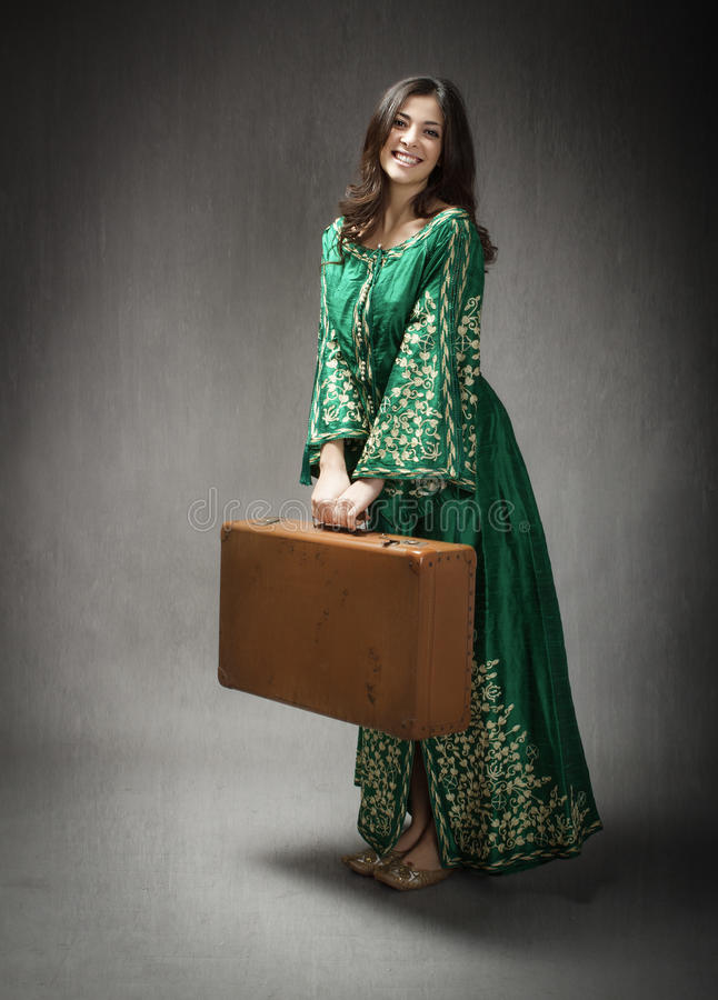 Arab girl ready to leave royalty free stock photo