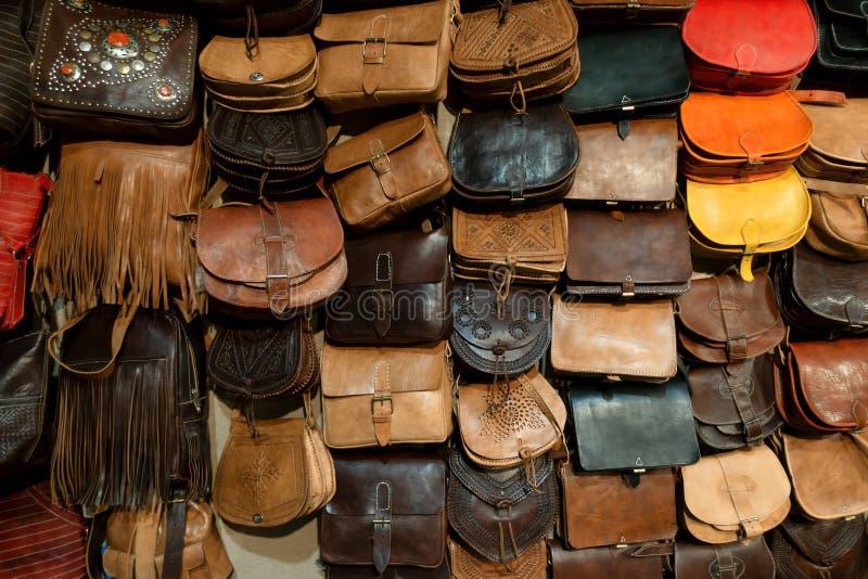 Arab handbags and wallets shop stock image