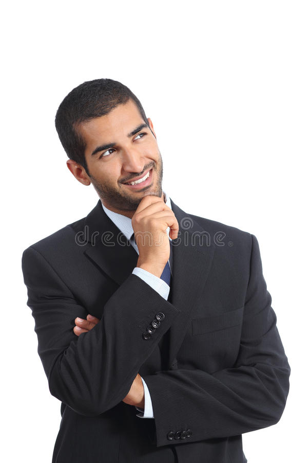 Arab happy business man thinking while looking at side. Isolated on a white background royalty free stock photography