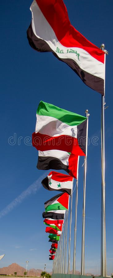 Arab League flags royalty free stock images