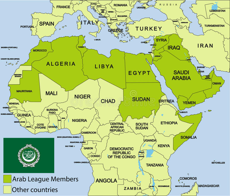 download arab league map and surroundings stock photo image of arabia comoros 28727740