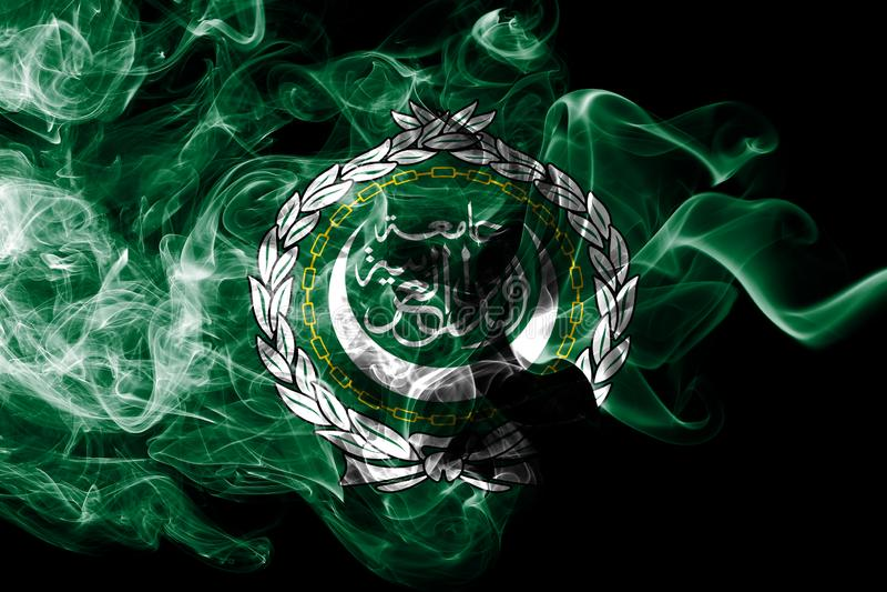 Arab League smoke flag, regional organization of Arab states.  stock image