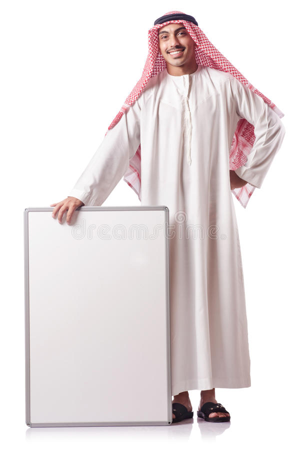 Download Arab man with blank board stock photo. Image of isolated - 27171566